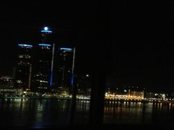 Night view of Detroit skyline from panoramic room