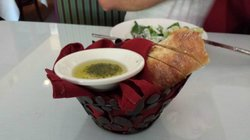 Warm bread with dipping oil