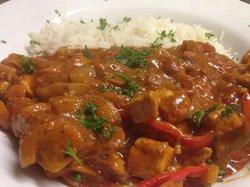 chicken tikka served with basmatti rice