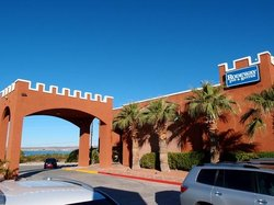 Motel front and parking area
