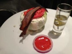 This salad comes with a shot, very unusual but very good