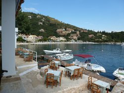 View from the Taverna over its terrace and across the bay