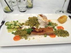 Monkfish and smoked pork belly, parsley quinoa, roast peanuts and peanut milk