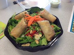 Asian salad with spring rolls