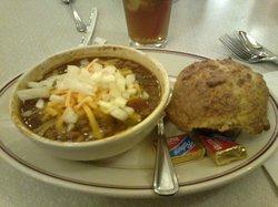 Chilli and cornbread muffin. Yum