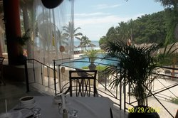 view to the pool from buffet area