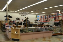Military collectibles for sale area.