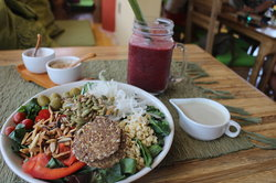JUICE with strawberry, blueberry, raspberry, date, coconut water and salad with lots of goodness