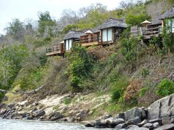 Mivumo Cabins on the cliff (taken from boat cruise)