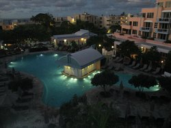 Pool area by night, view from balcony