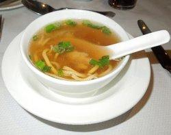 Starter; chicken noodle soup & roll.