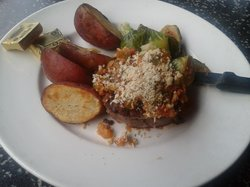 Pan Seared Filet Mignon topped with Shrimp Etouffee