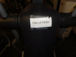 One of the 3 machines in the very tiny exercise room was out of order.
