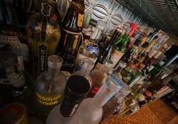 Stocked bar, ready for happy hour!