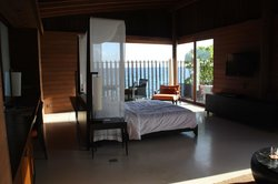 Water villa main room - look at the view out the windows