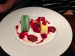 Pistachio Macaroon, Iced Lemon Parfait , Raspberries , Honey, Cranachan Clusters