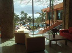view from reception out to pool area