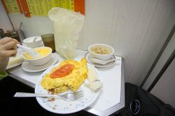yummy omelette, lotus seed soup beside