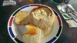 Zorro's Shell Beach clam chowder bread bowl