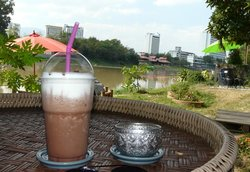 Iced mocha with a view
