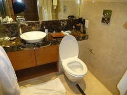 salle de bains avec wc incorporé au plan vasque...