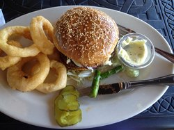 Veggie Burger with Onion Rings