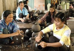 Vietnamese Lacquer Painting - Ha Thai Village