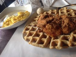 Chicken and waffles w/ Maple Pecan Smear