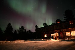 Northern lights at lodge