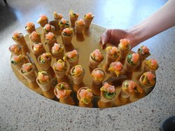 Canape: Soft guacamole with pickled shrimp