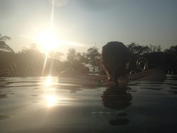 Sky Pool watching sun set
