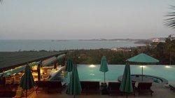 Peaceful pool area at dusk