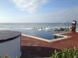 Pool area - small infinity pool overlooking the sea.