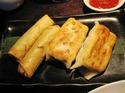 Pan-fried vegetable dumpling & Vegetarian garlic spring roll