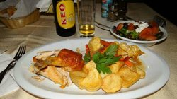 Dinner time. Keo local beer and Cypriot dishes