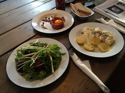 Beef tartare, seasonal salad, potatoes with cottage cheese and linseed oil