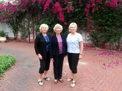 Three sisters in Celebration's Columbia Restaurant Courtyard,