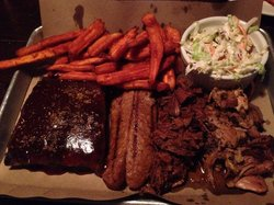 Amazing BBQ Platter: Ribs, Sausage, Brisket, Pulled Pork, Sweet Potato Fries and Coleslaw