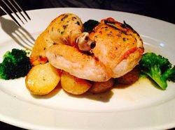 roasted daisen chicken, rosemary potatoes, olive oil lemon sauce大山鶏のロースト ローズマリーポテト オリーブオイル・レ