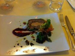 Entrée de paleron de veau et foie gras