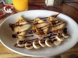The breakfast crepe (Salvavida). Very small portions for 70 pesos...