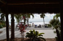 the beach at the hotel from the tiki bar