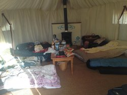 Inside of our Yurt