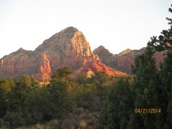 Sun in the morning on the red mountains