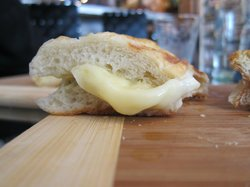 Melted brie on a toasted baguette