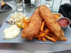 Cod and sweet potato fries