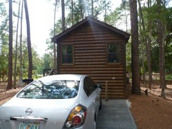 Outside cabin. Parking right in front