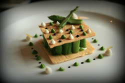 Asparagus with goat cheese and aged balsamic