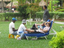 Massages in the gardens of the hotel