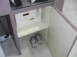 Locker and slippers were available in room